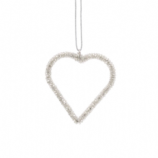Silver Hanging Heart Decoration - Small